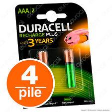 4 Batterie Ricaricabili DURACELL VALUE Pile Ministilo AAA Precaricate
