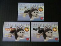 Ty Beanie Babies BBOC Series I S1 ~ Red Blue Silver Birthday 3 Card 40 NANOOK