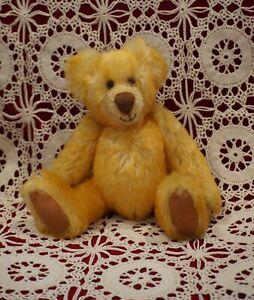 Sweet Mohair Teddy . 23cm . Gold Mohair . Amber Glass Eyes . Hand Made