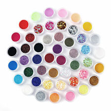 48 Colors Nail Art Acrylic Glitter Powder Dust Tips Decoration Tool