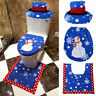 Hot 3PCS Fancy Santa Toilet Seat Cover and Rug Bathroom Set Christmas Decoration