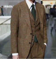 Men Brown Windowpane Wool Suits Check Formal 3 Pieces Vintage Business Wedding