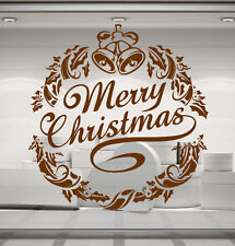 Merry Christmas Wreath, Holly, Bells. Decal sticker for walls, windows, shop etc