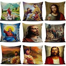 """Cushion Cover 18"""" Christian Jesus Pillow Case Linen Cotton Home Textile Waist"""