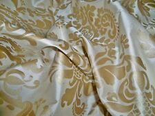 SILK LOOM FORTUNY STYLE VENETIAN PRINTED SILK FABRIC 10 YARDS CREAM GOLD