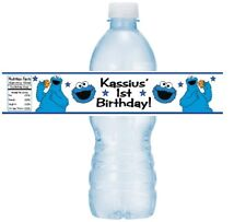 12 Cookie Monster Birthday Party Or Baby Shower Water Bottle Stickers Labels