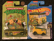 LOT OF 2 HOT WHEELS PARTY WAGON & SURFIN SCHOOL BUS Teenage Mutant Ninja Turtles
