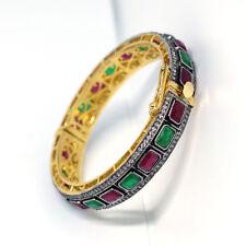 Victorian Jewelry Ruby, Emerald & CZ Beads 24k Gold Plated Cuff Bangle Bracelet