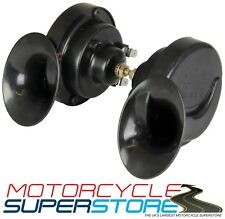 TWINZ 12V MOTORCYCLE MOTORBIKE SNAIL-STYLE PAIR TWIN HORNS 130db HOOTAZ BLACK