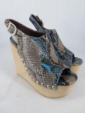 Jeffrey Campbell Snick Platform Wedge sandals Blue Grey Snake UK 6 EU 39 LN36 62