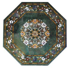 "36"" Green Marble Center Table Top Semi Precious Stones Inlay Work"