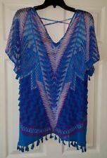 $69 NWT INC Womens V-Neck Sheer Tassel-Trim Criss Cross Back Top Size XL XLarge