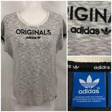 Adidas Originals Womens XL Top Pullover Gym Running Gray Retro Logo Rare M69465