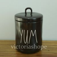 """New RAE DUNN BY Magenta """"YUM"""" Black Small Baby Canister"""