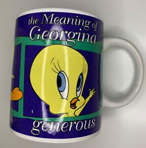"""Vintage Warner Bros 1998 Coffee Mug Tweety Bird """"Georgina"""" Name Pre Owned *J6"""