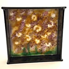 Fused Abstract Glass Art Wall Hanging Plaque Square Framed Black Purple Signed