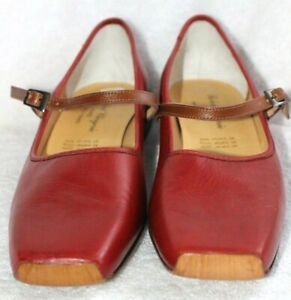 Robert Clergerie Red Leather Mary Jane Shoes w/Strap & Flat Square Heels 9 B NEW