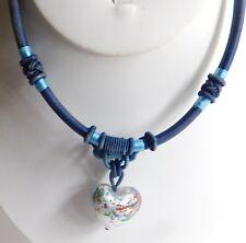 Murano Art  Foil Glass Lampwork Heart Pendant Blue Woven Fabric Necklace