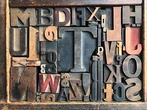 Antique Letterpress Printers WOOD TYPE Mix 43 Pieces w/ Full Alphabet