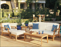 Giva Grade-A Teak Wood 3 pc Outdoor Garden Patio Large Sofa Lounge Chair Set New