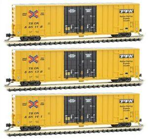 Micro Trains N TTX Hi-Cube 3-pack Trailer Train TBOX New MTL 993 01 840