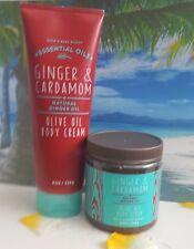 bath and body works ginger & cardamom olive oil body cream and body scrub