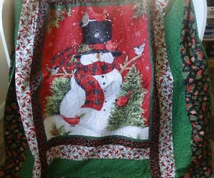 CHRISTMAS QUILT Handmade, Snowman, Red, Green, Black, Twin Size,  Bedroom Decor