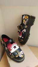 RARE DR MARTENS Mukai Black Leather Rockabilly buckle Shoes Uk 6.5 EU 40 US 8.5
