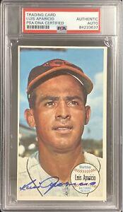 Luis Aparicio Signed 1964 Topps Giants #39 Card Orioles Autograph HOF PSA/DNA