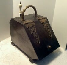 Antique Metal Fireplace Coal Scuttle Ash Box w shovel & tin ash liner box