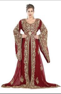 Dubai Machine Ari Work Maroon Georgette Islamic Kaftan Floor Length Wedding Wear
