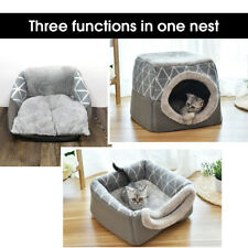 Pet Cat & Dog Bed Soft Igloo Cave Nest Portable House Removable Cushion Kennel