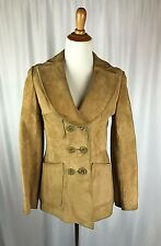 NEIMAN MARCUS Vintage Camel Beige Soft Suede Leather Button Up Coat Small/Medium