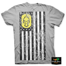 NEW HARD CORE BRANDS HARD CORE FLAG LOGO SHORT SLEEVE T-SHIRT GRAY LARGE