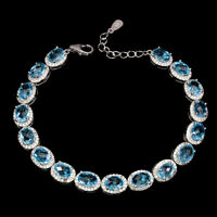 Oval Swiss Blue Topaz 7x5mm Cz 14K White Gold Plate 925 Sterling Silver Bracelet