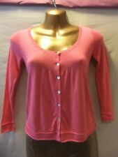 LADIES White Stuff 8 CORAL KNIT/GOLD SEQUIN BUTTERFLY BACK/LONG SLEEVE CARDIGAN