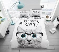 Cat with Glasses All You Need is Love Cat Modern Duvet Cover Bedding Quilt Set