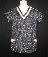 Womens White Swan Scrub Top - XS Carduroy black pink butterflies