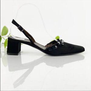 Ann Taylor 8.5 Pump Slingback Square Toe Block Heel Satin Black Leather