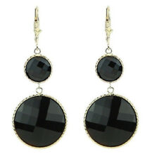 14K Yellow Gold Gemstone Earrings With Round Black Onyx
