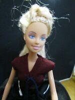BARBIE DOLL BLONDE HAIR NAVY DRESS MARONE LONG DRESS& BLACK SKIRT HIGH HEELS