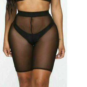 Women See Through Mesh  Shorts Leggings Pants Cycling Bikini Cover Up