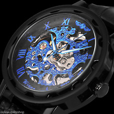Royal Carving Men's Steampunk Black Leather Luxury Skeleton Mechanical Watch
