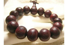"Big Stretch Tibetan 15 15mm Rosewood Carved Buddha Prayer Beads Mala Bracelet 7"""