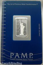 NEW 5 GRAM PAMP SUISSE LIBERTY / FLAG SILVER BAR SEALED .999 PURE