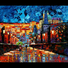 ANDRE DLUHOS LIMITED EDITION CANVAS PRINT ART Prague Night Charles Bridge. Czech