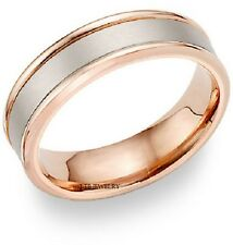 MENS 10K WHITE AND ROSE GOLD WEDDING BANS,TWO TONE GOLD MENS WEDDING RINGS 6MM