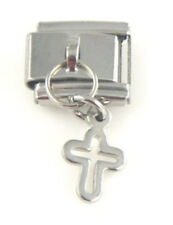 1 Silver Religious Cross Dangle 9MM Stainless Steel Italian Charm