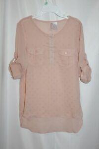 Japana Girls Shirt Pink Peach  Shear Tab sleeve High Low Shear Top Size 8