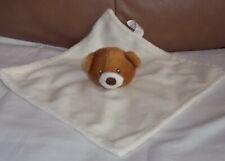 "Hey Baby Cream Brown Teddy Bear Baby Comforter Blankie  9"" (23cm) VGC"